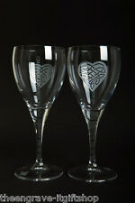 Pair Wine Glasses - 'Moments' - Heart/Trinity design - Wedding/Engagement Gift
