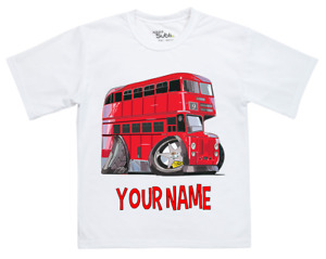 TOP BOYS Kids Personalised LONDON BUS Koolart Transport T Shirt Gift