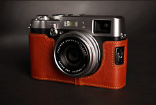 Handmade Brown Leather Half Case Bag for Fuji X100T Camera