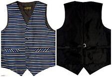 New Mens Striped Blue Waistcoat 40