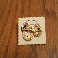 Vintage Gulf Oil REPUBLICAN ELEPHANT Political Double Horseshoes Gold Lapel Pin