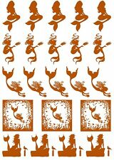 "Mermaid 22 pcs Gold Fused Glass Decals 5"" X 3-1/2"" Card 19CC1117"