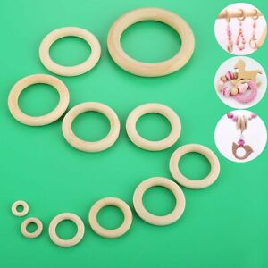 Craft 11 Size Natural Wooden Teething Rings Round DIY Necklace Bracelet Pendant