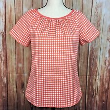 Worthington Shirt Top Coral White Polka Dot Woven Blouse Boxy Fit Womens Small