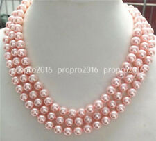 """Women's Fashion 8mm Natural Pink South Sea Shell Pearl Necklace 50"""" Long  PN1302"""