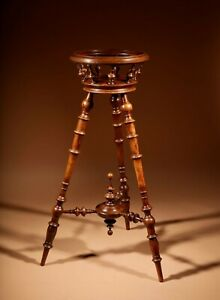 A Rare Turned Walnut Occasional Knitting / Plant Table Stand, Victorian