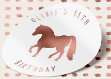 25 ROSE GOLD Pony Birthday Stickers Party Sweet Bag 18TH 21ST Horse