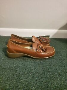 Thom Mcan Womens Loafer Shoes Brown Leather Tassel Moc Toe Slip Ons Size 6W New