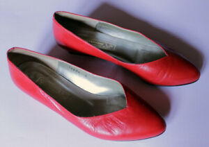 Vintage 80s Red Leather Flats Low Heeled Court Shoes Pumps Size UK 5