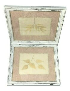 Mixed media wall art framed lot 2 natural leaves pictures 11x13 chippy paint