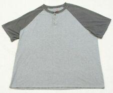 Hanes Gray Henley Style Tee T-Shirt Top 2XL Cotton Polyester Short Sleeve Man's