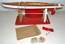 """Vintage Wooden Pond Yacht ~ 26½"""" Sailboat ~ Large Folding Metal Keel ~ Needs Tlc"""