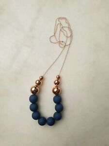 Handmade Acrylic Necklace Matte Navy with 6 Rose Gold/Copper Beads