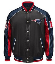 New England PATRIOTS NFL Faux Leather Varsity Jacket ~ Small
