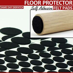 BLACK ROUND FELT FURNITURE PADS SELF ADHESIVE CHAIR LEG FLOOR PROTECTOR SIZES