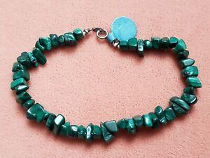 "Hand- Made GENUINE * MALACHITE * Bracelet 7.75"" Long - Made in USA"