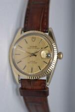 Rolex Tudor Prince OysterDate 34mm Solid Gold Bezel GP Watch ref. 75205 Rare!