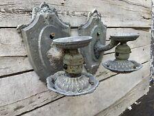 Vintage Pair Art Nouveau Cast Aluminum Wall Sconces Fixtures Design Restore