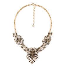 Collar Dorado Cadena Lace Metal Cruz Flor Vintage Clase OSC 4