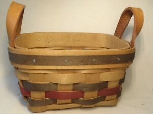 """BRADFORD COMPANY WOOD WOODEN BASKET HANDWOVEN USA 1997 SIGNED SMALL 5"""""""