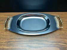 New ListingVintage Kromex Silver Chrome Serving Tray with Gold Tone Handles