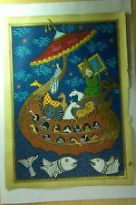 Handmade Rare Original Painting, Islamic Manuscript Prophet Noah's Ark