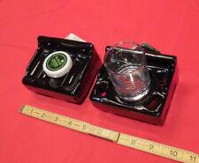 """Vintage *Glossy Black* Sink Set Ceramic Soap Dish+Cup Holder; 2-1/2"""" X 4""""   NOS"""