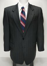 GIEVES & HAWKES 41R Charcoal Gray Chalk Striped 2 Button Blazer 100% Wool Henry