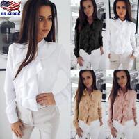 Women Ruffles Frill Formal T Shirt Long Sleeve Blouse OL Ladies Casual Tops US