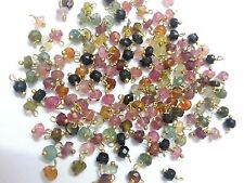 25 Pcs Multi Tourmaline 3-4mm Gemstone Beads, Wire Wrapped Link ,24k Gold Plated