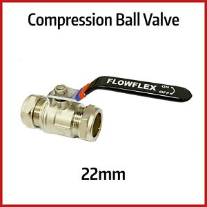 22mm Compression Lever Ball Valve | Black Handle with Hot / Cold Indicator