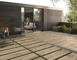Terrassenplatten Holzoptik Eiche Holzoptik Fliesen Terrassendielen, 40 x 120cm
