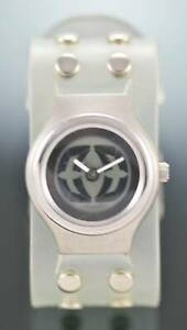 Fossil Big Tic Watch Unisex Clear Rubber Stainless Silver 50m Gray Batt Quartz