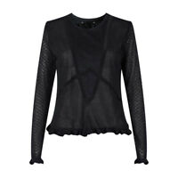 New Ex M&S Black Ruffle Long Sleeve Thin Party Top Size 8 - 18 Lace Frill