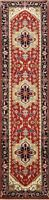 Geometric Hand-Knotted Indo Heriz Oriental Runner Rug Traditional Carpet 2x10 ft