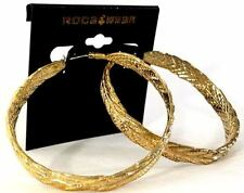 "ROCAWEAR Gold Tone HOOP 2.5"" Fashion EARRINGS (MSRP: $22) - New with Tags"