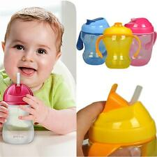 Children Straw Training Learning Drinking BPA Free Sippy Cup Handle Bottle