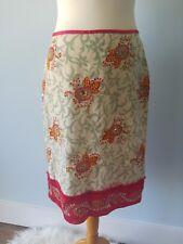 Karen Millen 10 12 Red Green Silk Embroidered Sequin Skirt Party Wedding