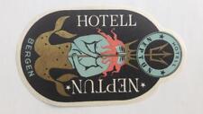 NORWAY Hotel Neptun Bergen; vintage luggage label