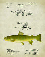 Fishing Lure Patent Poster Art Print Antique Trout Reels Fly Flies Fish PAT150