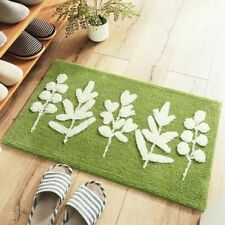 Bathroom Mat with Green Leaves Design Bath Rug Absorbent Non Slip Microfiber