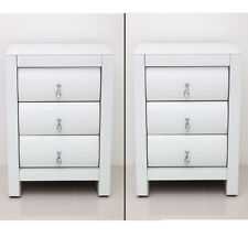 2pcs High Gloss White Bedside Tables 3 Drawer Home Bedroom Cabinets Nightstands