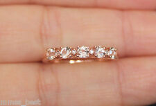 new 10k size7 natural pink morganite round diamond wedding band ring rose gold - Morganite Wedding Ring