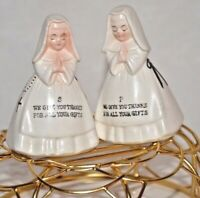 "Vintage - ""We Give Thanks"" Praying Nuns Salt and Pepper Shakers"
