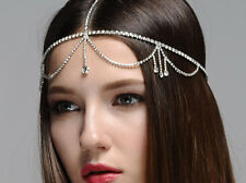 Bridal Hair Jeweled Headpiece Oversized Tiara Bohemian Head Chain headdress
