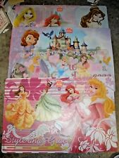 "Lot of 4 Disney Princess Plastic Placemats 17.75"" Zak"