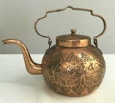 EARLY ANTIQUE DOVETAILED STAMPED EMBOSSED DESIGN COPPER TEA POT KETTLE