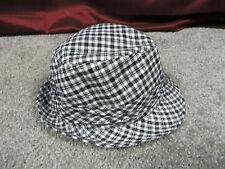 Black & White Checkered Brim Hat w/Silver Line Accents