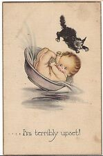 I'M TERRIBLY UPSET Baby In Bath Spilled by BLACK CAT Postcard Linen Feel 1921