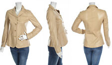 PRADA ~ REAL Leather Beige Blazer / Jacket ~ size: S / M ; 42  * AUTHENTIC